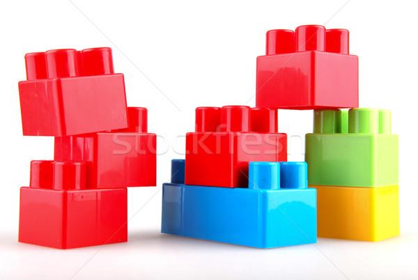 Plastic bouwstenen witte achtergrond vak groene Stockfoto © nenovbrothers