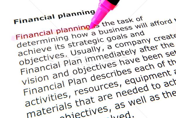 Pénzügyi tervezés toll irat citromsárga makró tervez Stock fotó © nenovbrothers