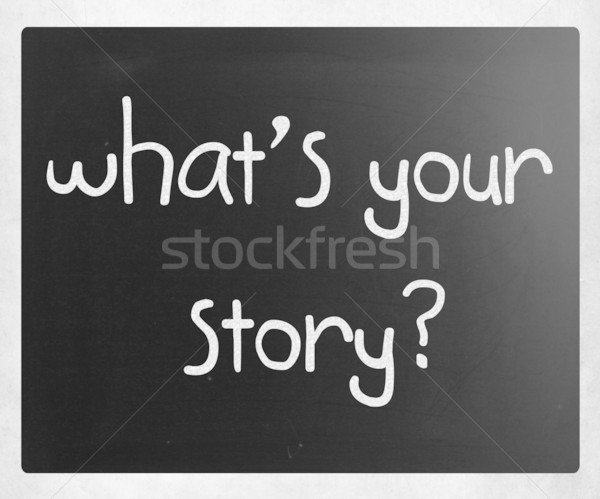 Qué historia blanco tiza pizarra Foto stock © nenovbrothers