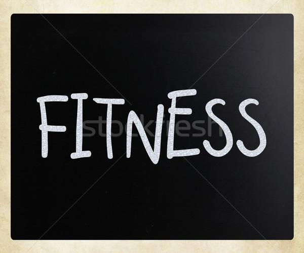 Foto stock: Fitness · branco · giz · lousa · escolas
