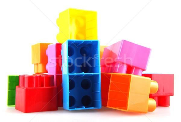 Műanyag építőkockák fehér épület zöld játék Stock fotó © nenovbrothers