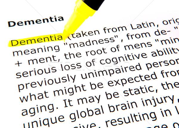 Demencja pióro dokumentu żółty makro tekst Zdjęcia stock © nenovbrothers