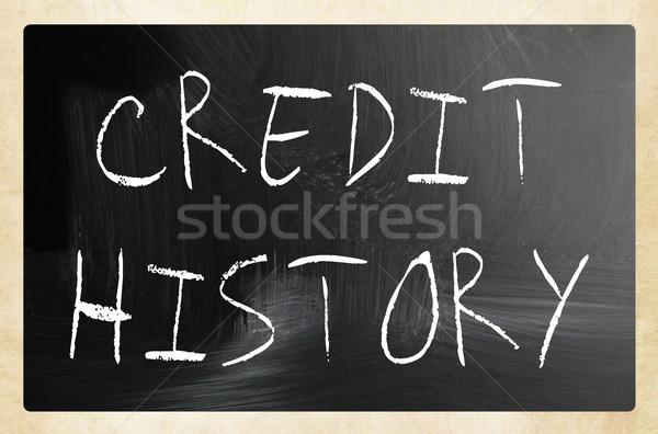 Krediet geschiedenis witte krijt Blackboard Stockfoto © nenovbrothers