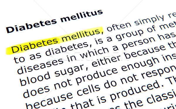 Cukorbetegség toll irat citromsárga makró szöveg Stock fotó © nenovbrothers