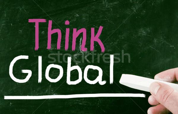 Denk globale business hand kaart wereld Stockfoto © nenovbrothers