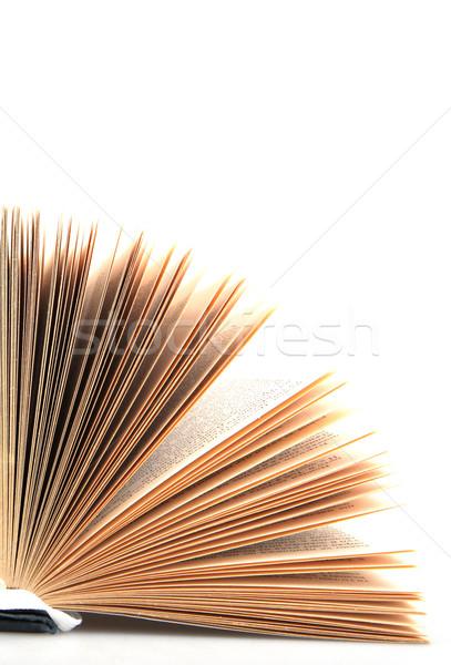 Open boek school onderwijs Blauw recht brief Stockfoto © nenovbrothers