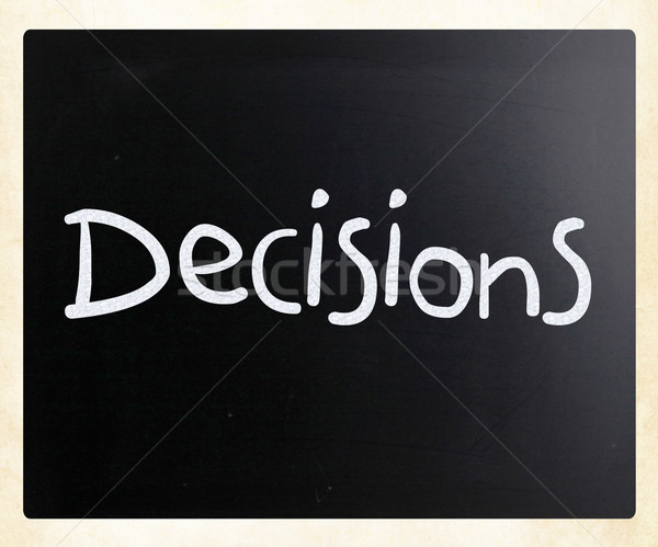 Stok fotoğraf: Kelime · kararlar · beyaz · tebeşir · tahta