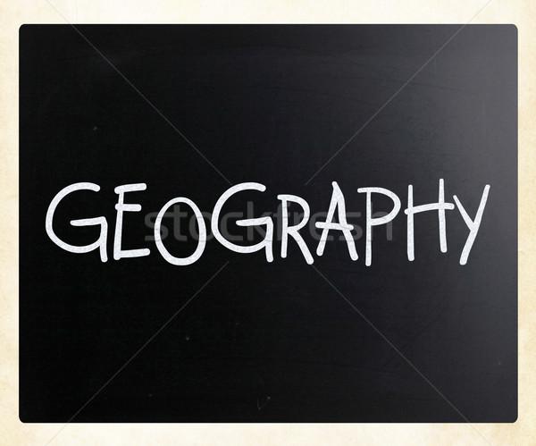 Géographie blanche craie tableau noir bois Photo stock © nenovbrothers