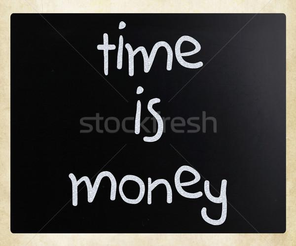Время-деньги белый мелом доске Сток-фото © nenovbrothers