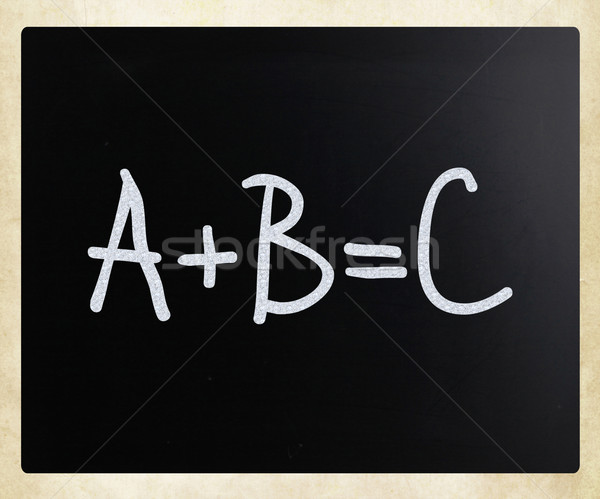 'A+B=C' handwritten with white chalk on a blackboard Stock photo © nenovbrothers