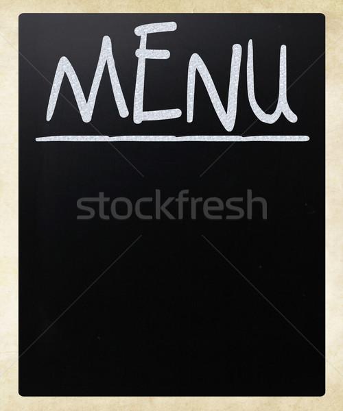 Foto stock: Lousa · branco · giz · usado · restaurante · menu