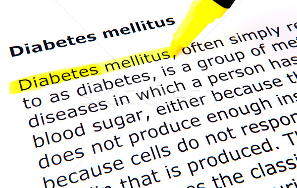 Suikerziekte pen document Geel macro tekst Stockfoto © nenovbrothers