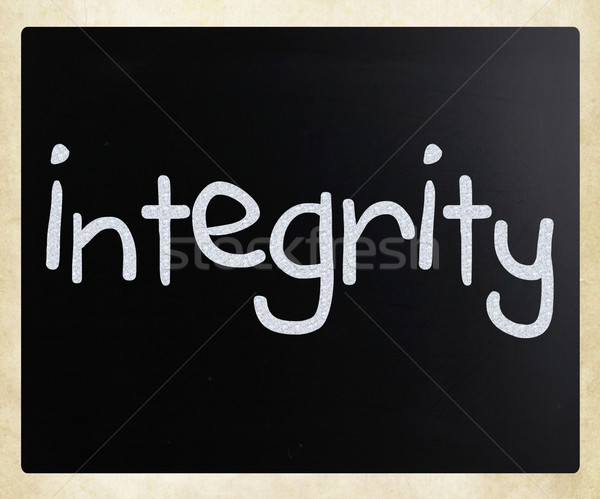 'Integrity' handwritten with white chalk on a blackboard Stock photo © nenovbrothers