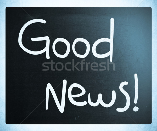Bonnes nouvelles blanche craie tableau noir informations Photo stock © nenovbrothers