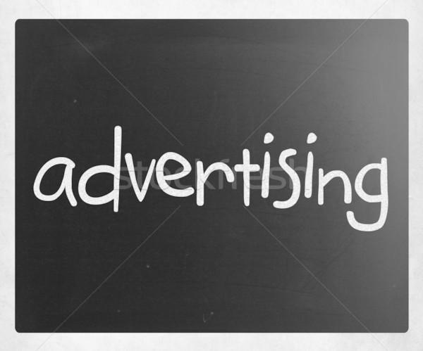 слово реклама белый мелом доске Сток-фото © nenovbrothers