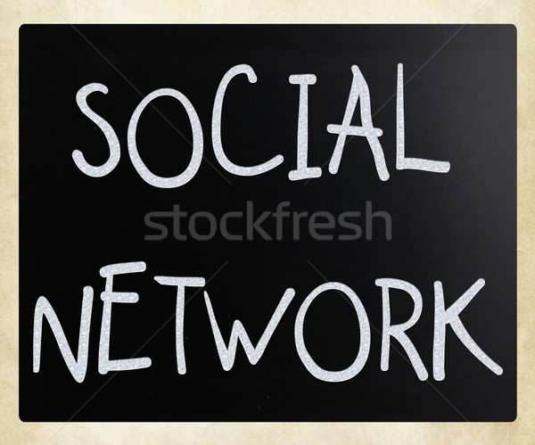 The word 'Social network' handwritten with white chalk on a blac Stock photo © nenovbrothers