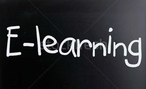 Szó online oktatás kézzel írott fehér kréta iskolatábla Stock fotó © nenovbrothers