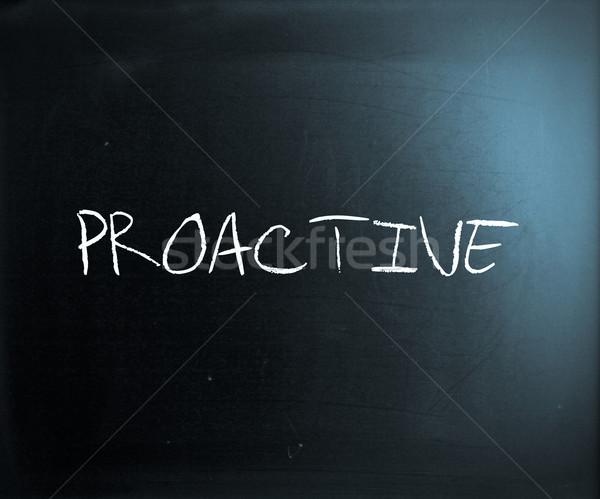 Proaktív kézzel írott fehér kréta iskolatábla szó Stock fotó © nenovbrothers