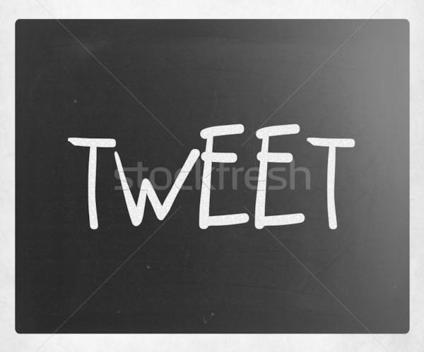 Gekwetter witte krijt Blackboard hout Stockfoto © nenovbrothers