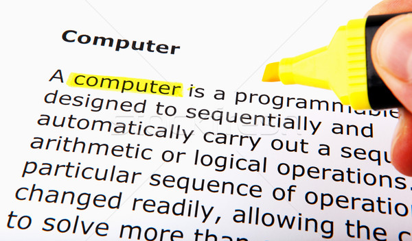 Tekst Geel tip pen papier onderwijs Stockfoto © nenovbrothers
