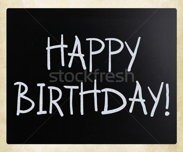 Stock fotó: Boldog · születésnapot · születésnap · klasszikus · iskolatábla · antik
