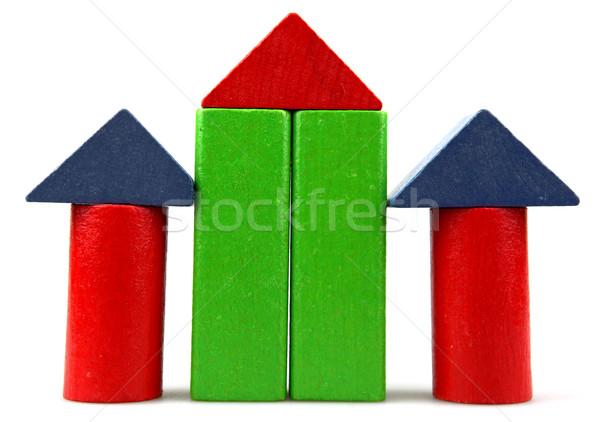 Houten bouwstenen hout bouw kind ontwerp Stockfoto © nenovbrothers