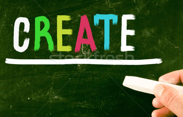 Blackboard bouwen brieven tekst woord Stockfoto © nenovbrothers