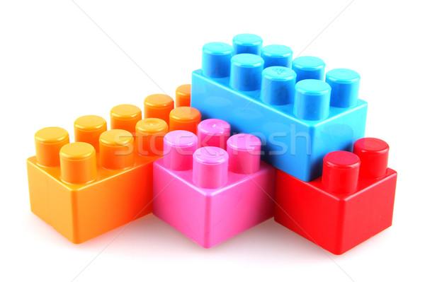 Plastic bouwstenen kind Blauw Rood speelgoed Stockfoto © nenovbrothers