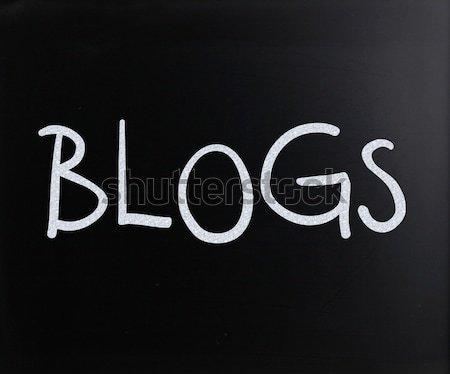 'Blog' handwritten with white chalk on a blackboard Stock photo © nenovbrothers