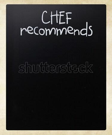 Foto stock: Chef · blanco · tiza · pizarra · restaurante