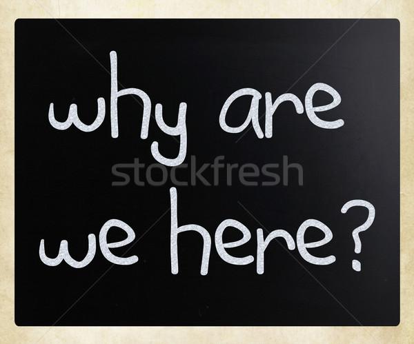 ここで 白 チョーク 黒板 質問 ストックフォト © nenovbrothers