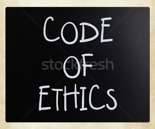 Codice etica manoscritto bianco gesso lavagna Foto d'archivio © nenovbrothers