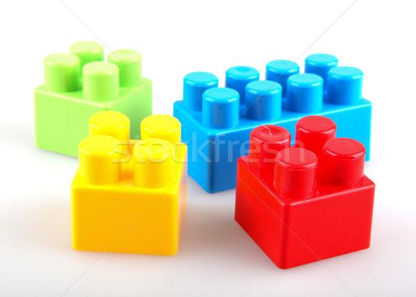 Stock fotó: Műanyag · tömbházak · fehér · háttér · doboz · zöld