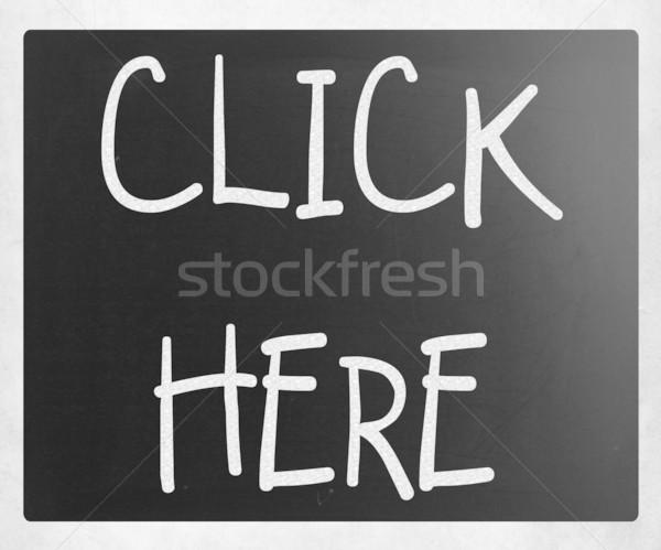Kattintson ide kézzel írott fehér kréta iskolatábla egér Stock fotó © nenovbrothers