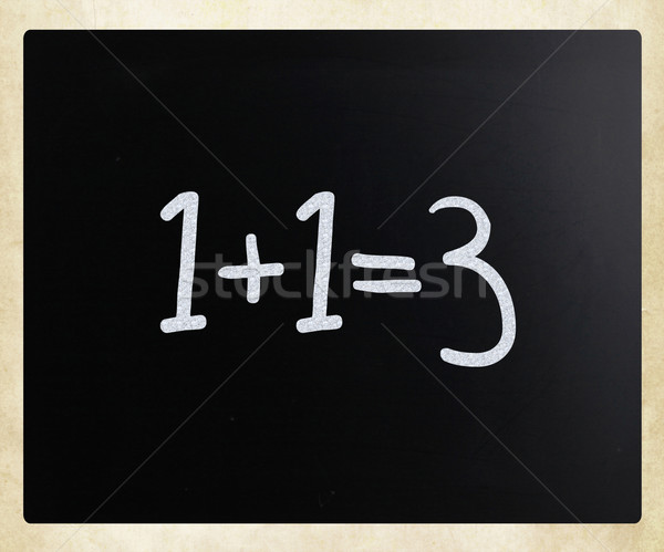 1+1=3 handwritten with white chalk on a blackboard Stock photo © nenovbrothers