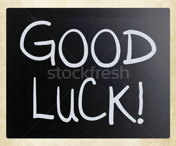 'Good luck!' handwritten with white chalk on a blackboard Stock photo © nenovbrothers