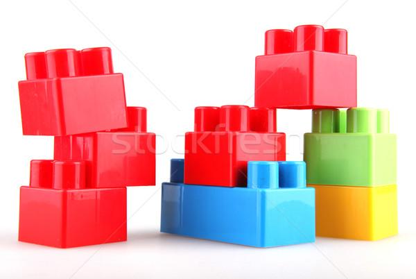 Műanyag tömbházak épület háttér doboz zöld Stock fotó © nenovbrothers