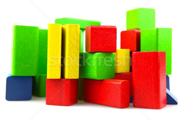Houten bouwstenen geïsoleerd witte achtergrond groene Stockfoto © nenovbrothers