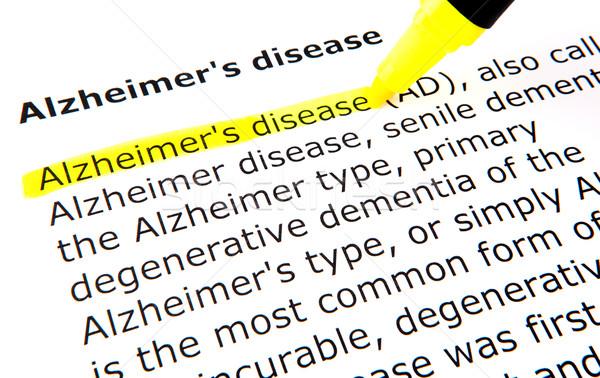 Alzheimer-kór toll irat citromsárga makró szöveg Stock fotó © nenovbrothers