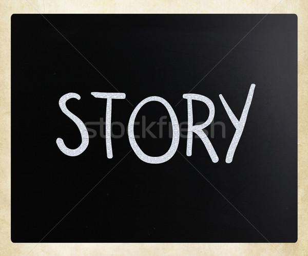 Verhaal witte krijt Blackboard hout Stockfoto © nenovbrothers