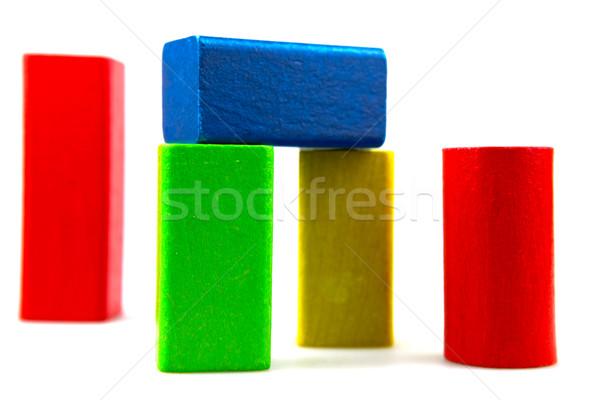 Blocos de construção isolado branco fundo verde Foto stock © nenovbrothers
