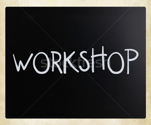 'Workshop' handwritten with white chalk on a blackboard Stock photo © nenovbrothers