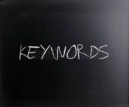 The word 'Keywords' handwritten with white chalk on a blackboard Stock photo © nenovbrothers
