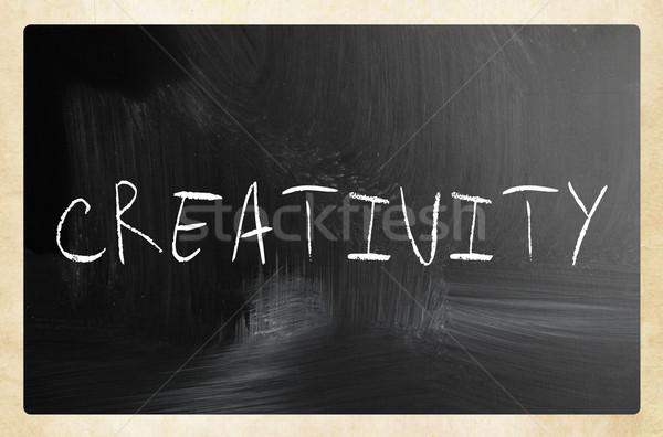 Stock fotó: Szó · kreativitás · kézzel · írott · fehér · kréta · iskolatábla