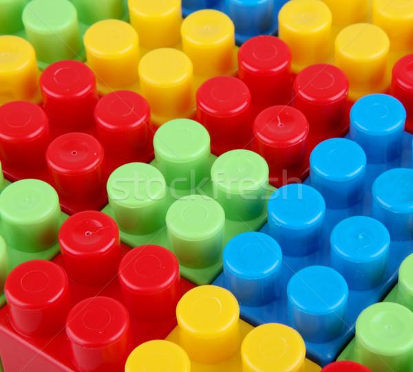 Műanyag tömbházak fehér háttér doboz zöld Stock fotó © nenovbrothers