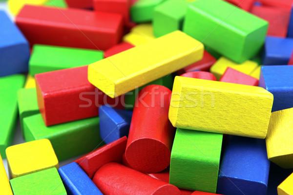 Houten bouwstenen achtergrond Blauw gebouwen Rood Stockfoto © nenovbrothers