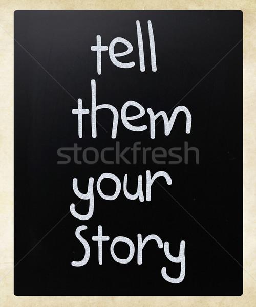 物語 白 チョーク 黒板 木材 ストックフォト © nenovbrothers