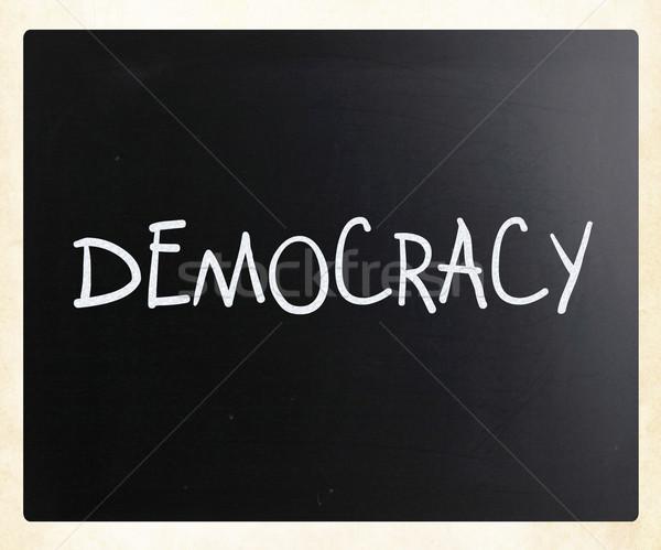 言葉 民主主義 白 チョーク 黒板 ストックフォト © nenovbrothers