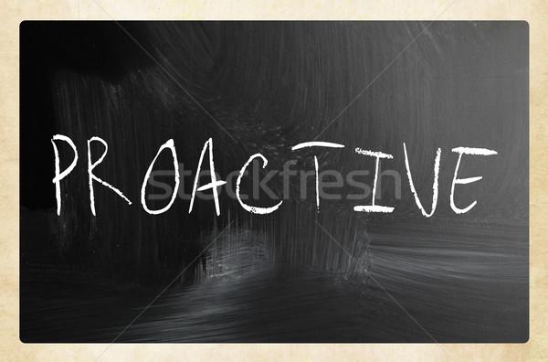 Palavra proativa branco giz lousa Foto stock © nenovbrothers