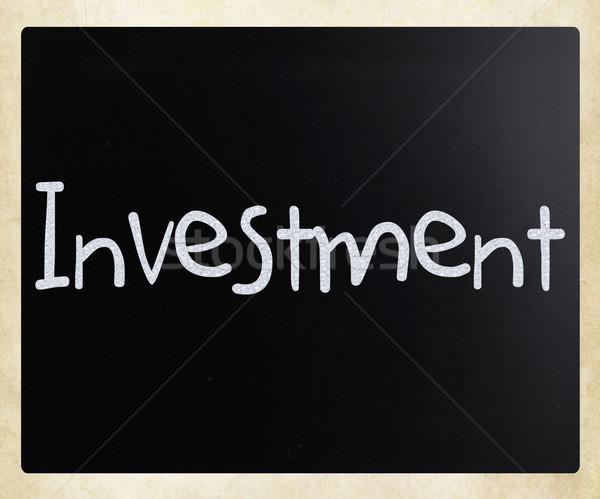 Szó beruházás kézzel írott fehér kréta iskolatábla Stock fotó © nenovbrothers